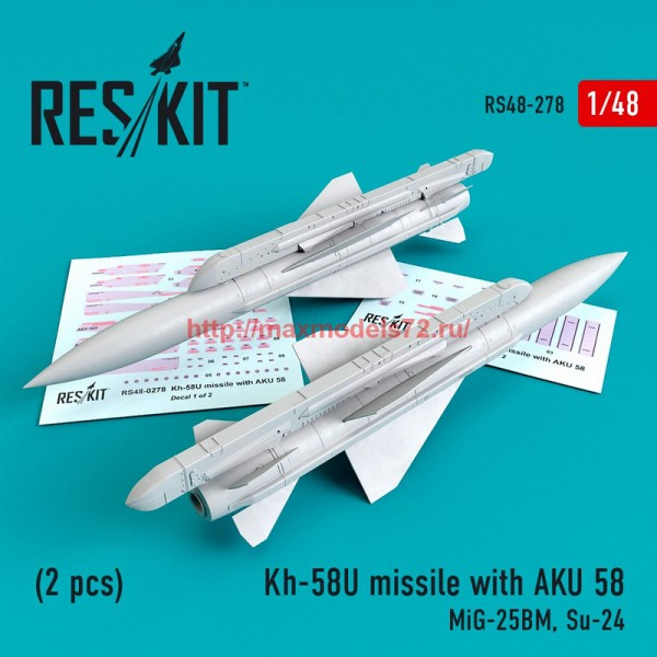 RS48-0278   Kh-58U missile with AKU 58 (2 pcs) (MiG-25BM, Su-24) (thumb55755)