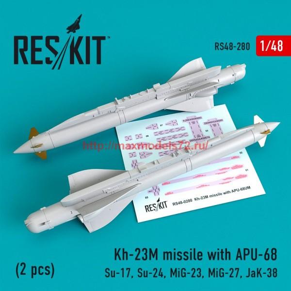 RS48-0280   Kh-23M missile with APU-68 (2 pcs)(Su-17, Su-24, Mig-23, Mig-27, JaK-38) (thumb55759)