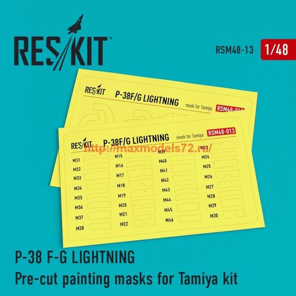 RSM48-0013   P-38 F/G Lightning Pre-cut painting masks for Tamiya Kit (thumb55867)